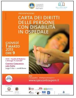 Copertina della Carta dei Diritti delle Persone con Disabilità in Ospedale