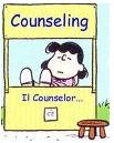 """Disegno di Mafalda dietro una bancarella con scritto """"counseling"""""""